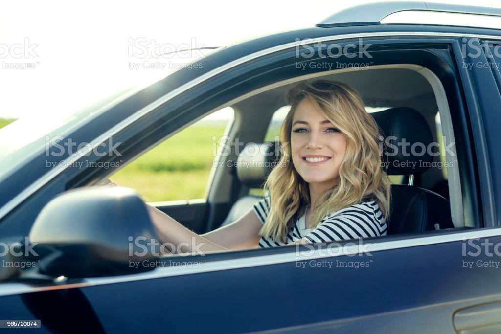 Attractive blonde in the car - Royalty-free Adult Stock Photo