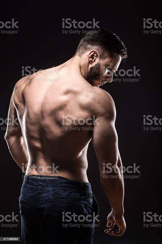 Atractiva Culturista Deportista Muestra Cuerpo Perfecto Los Músculos ...