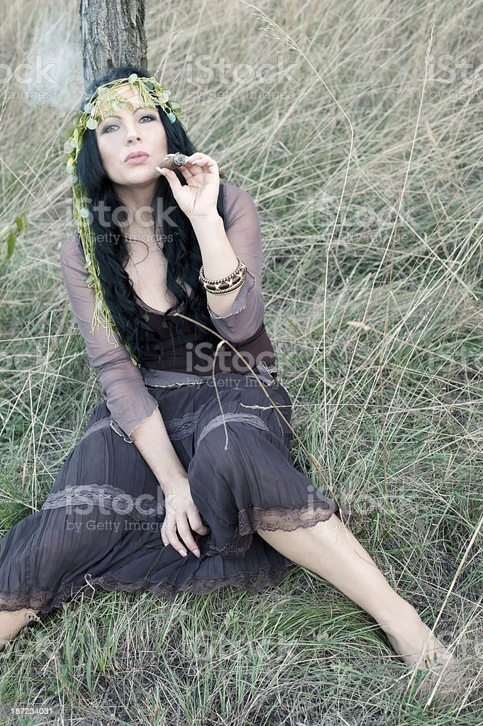 Attractive Bohemian Gypsy Woman royalty-free stock photo