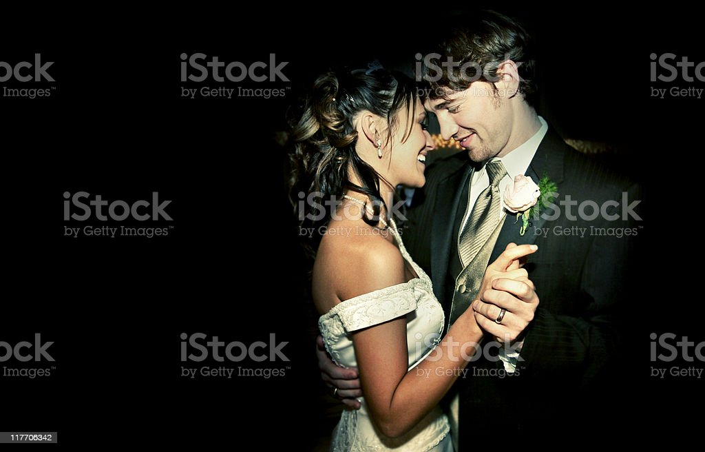 Attractive Bride and Groom Happy Wedding Couple Dancing stock photo