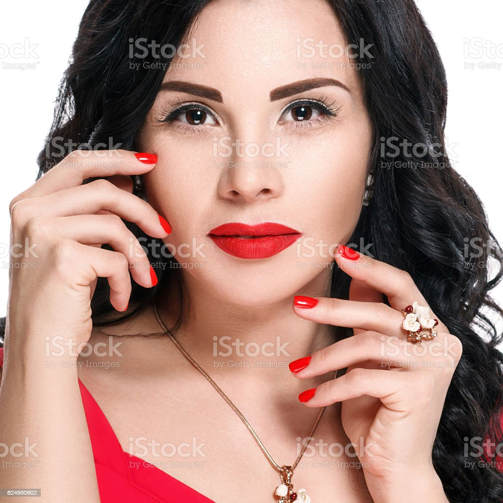 Attractive Brunette Girl With Red Lips And Red Nails Stock Photo ...