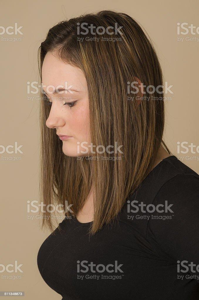 Attractive brunette profile stock photo