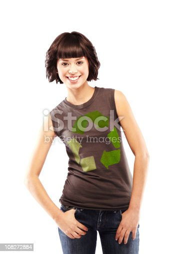istock Attractive Brunette with Recycling Logo on Her T-shirt 108272884