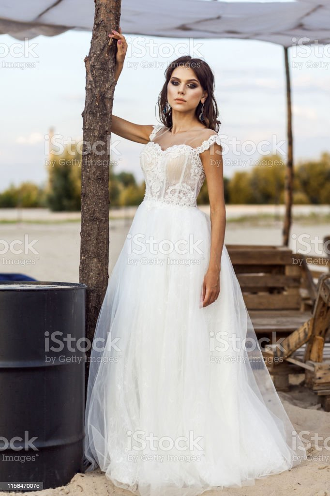 Attractive Brunette Woman With Makeup And Hairstyle Wearing White Wedding Dress While Posing Outside Standing And Looking At Camera Stock Photo Download Image Now Istock