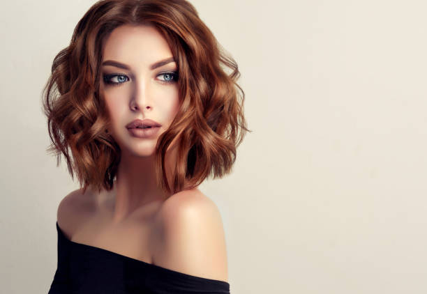 attractive brunette woman with modern, trendy and elegant hairstyle. - makeup fashion stock pictures, royalty-free photos & images