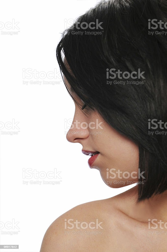 Attractive brunette's profile royalty-free stock photo
