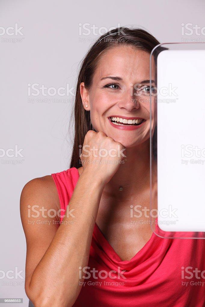 Schöne business-Frau in Rot Lizenzfreies stock-foto
