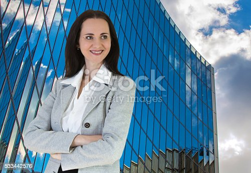 istock Attractive business woman portrai in suit 533442576