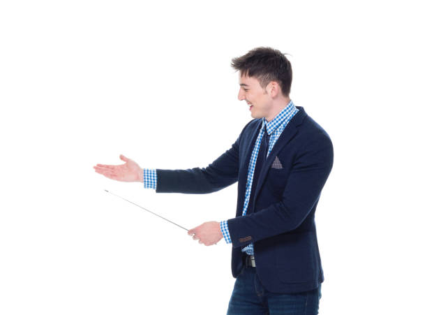Attractive businessman is using a pointer stick stock photo