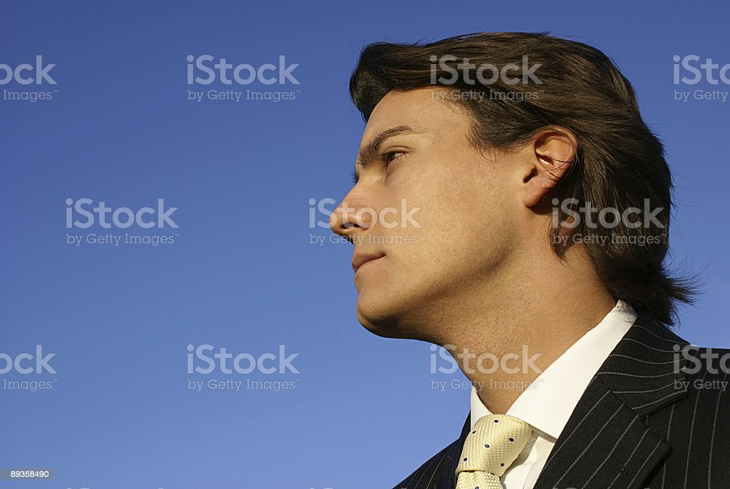 Attractive Businessman looking at a blue sky royalty free stockfoto