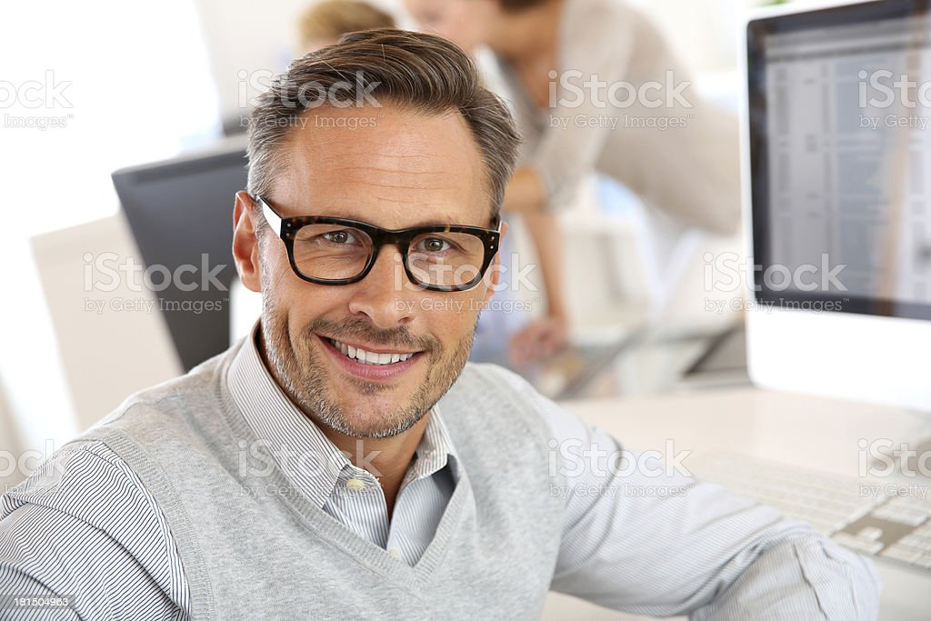 Attractive businessman with eyewear stock photo