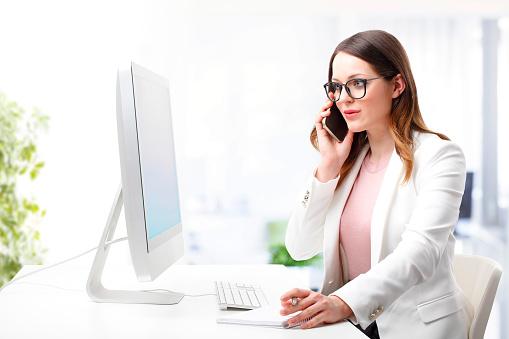 istock Attractive businesswoman at work 529069430