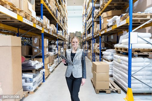 915900234istockphoto Attractive businesswoman in large warehouse holding tablet 540131206