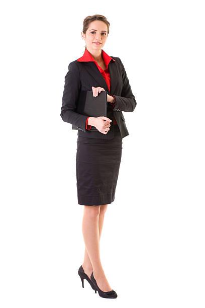 attraktive geschäftsfrau in rote jacke und hemd, isoliert auf weiss - rote bleistiftröcke stock-fotos und bilder