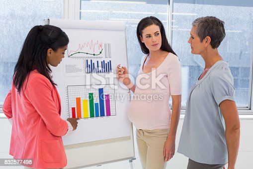 Attractive businesswoman making a presentation at work in front of fellow businesswomen