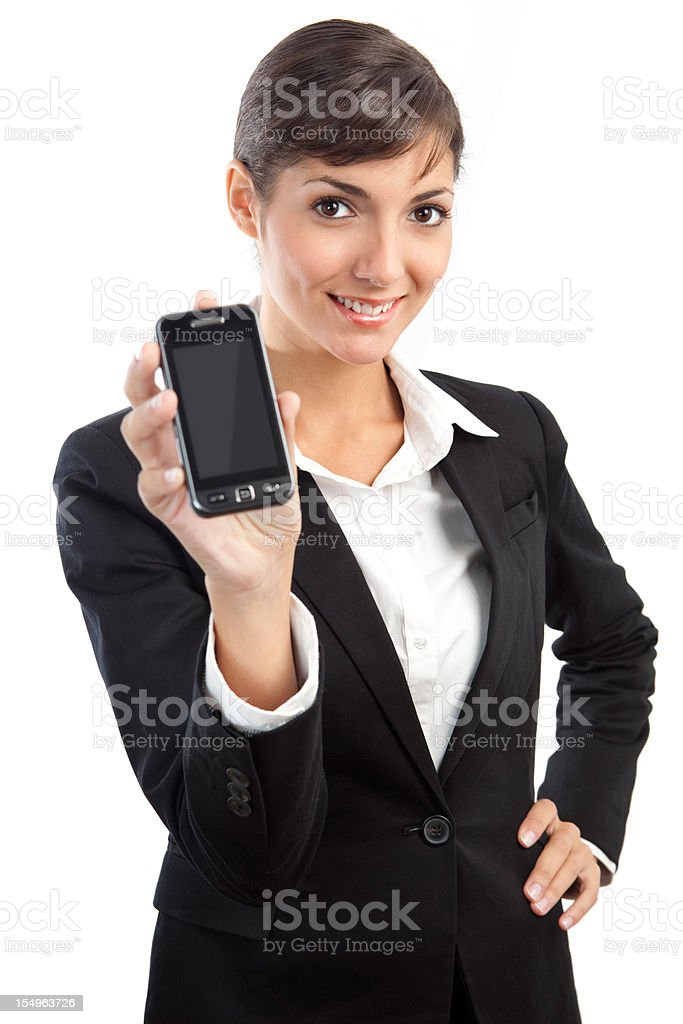 Attractive businesswoman showing mobile phone stock photo