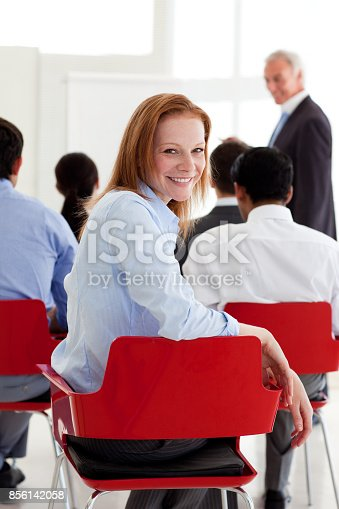 640177838 istock photo Attractive businesswoman smiling at the camera 856142058