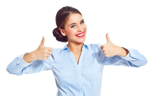 Attractive Businesswoman With Thumb Up Stock Photo - Download Image Now
