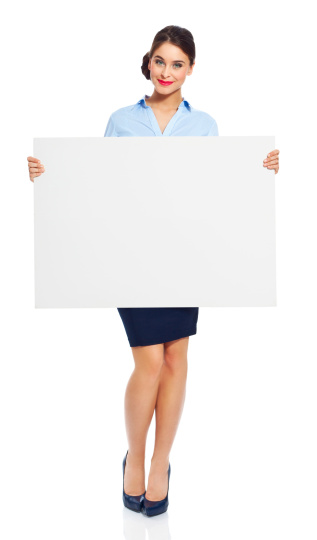 Attractive Businesswoman With Whiteboard Stock Photo - Download Image Now