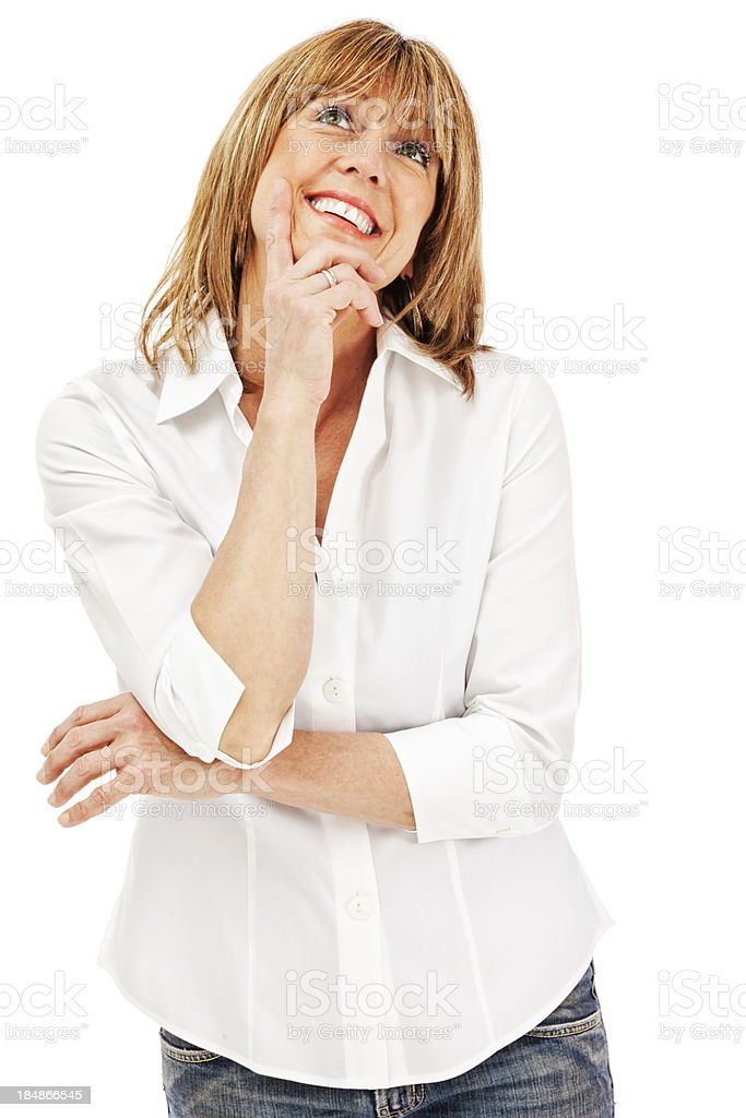 Attractive Casual Mature Woman Pondering royalty-free stock photo