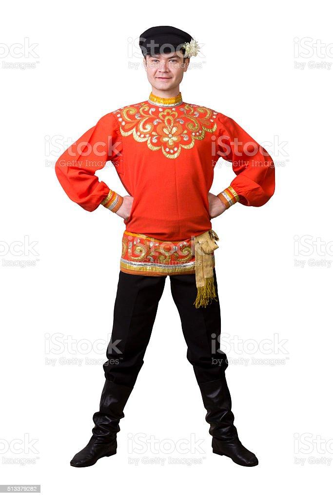 attractive caucasian guy wearing a russian folk costume stock photo