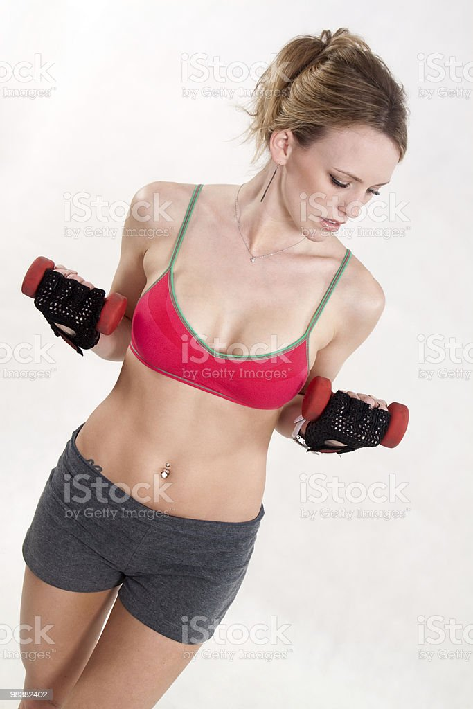 Attractive caucasian woman exercise for fitness royalty-free stock photo