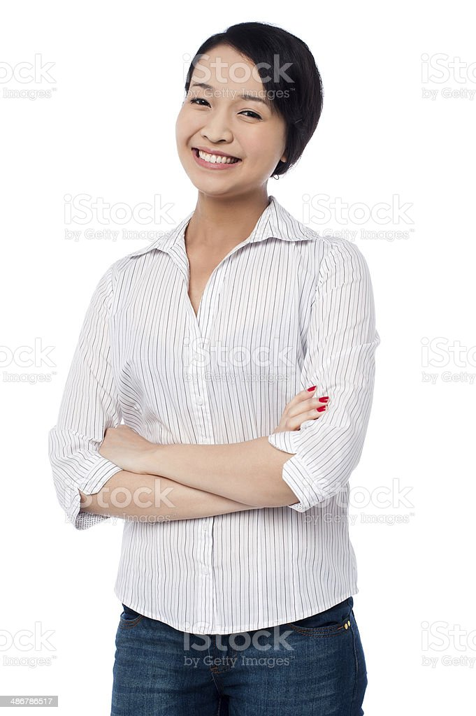 Attractive chinese girl posing confidently royalty-free stock photo