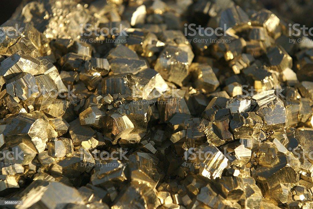 Attraktive Nahaufnahme des fool's gold und Pyrit Lizenzfreies stock-foto