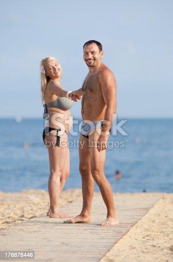 istock Attractive couple at the sea 176878446