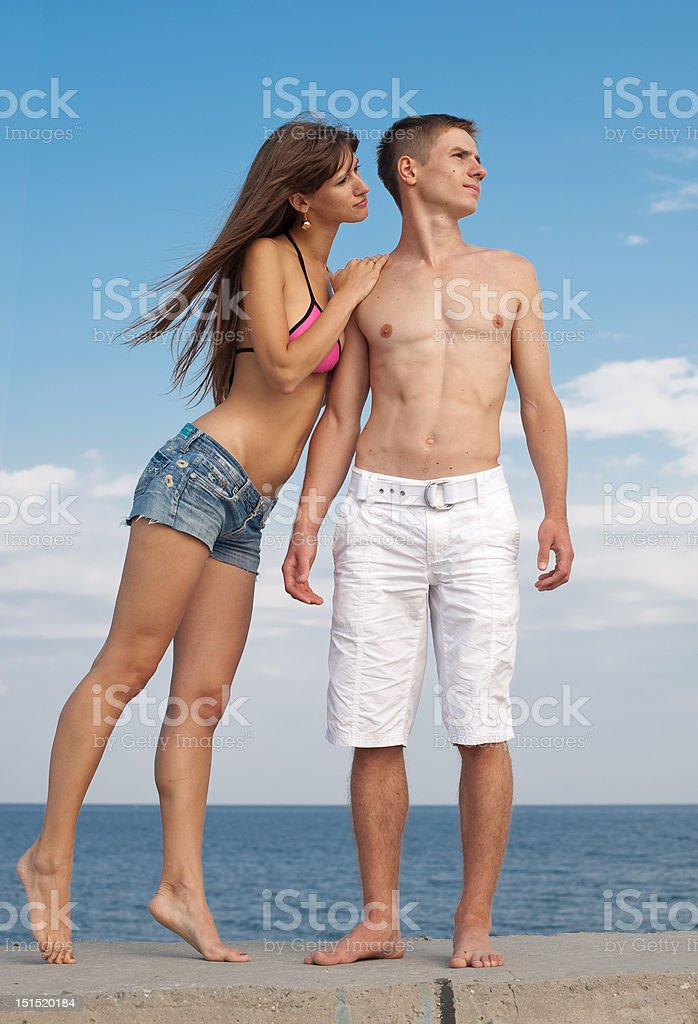 Attractive couple outdoors stock photo