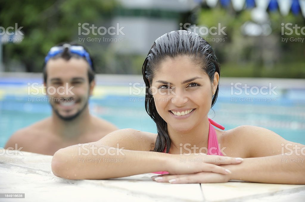 Attractive Couple Swimming royalty-free stock photo