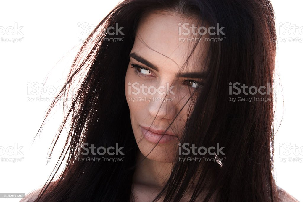 Attractive dark haired woman stock photo