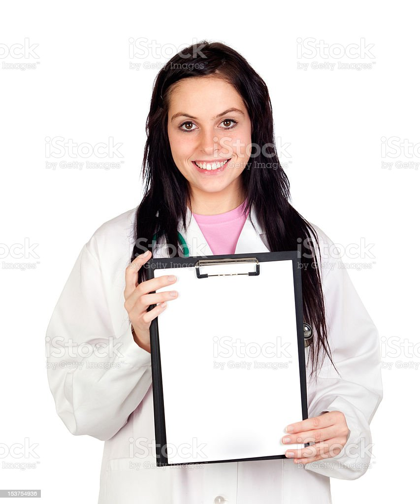 Attractive doctor woman with blank paper on clipboard stock photo