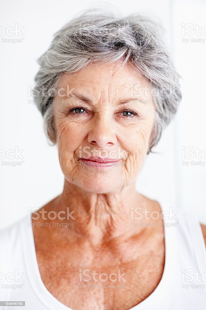 Attractive elderly woman stock photo
