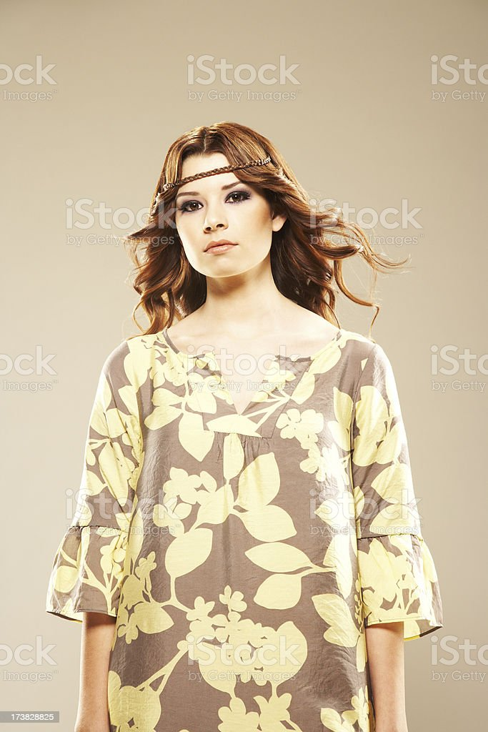 Attractive fashion model with floral dress royalty-free stock photo