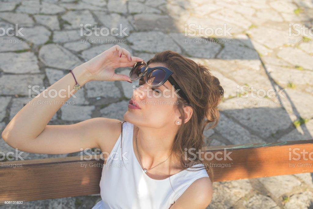 Attractive fashionable sensual woman in sunglasses.Summer concept. stock photo