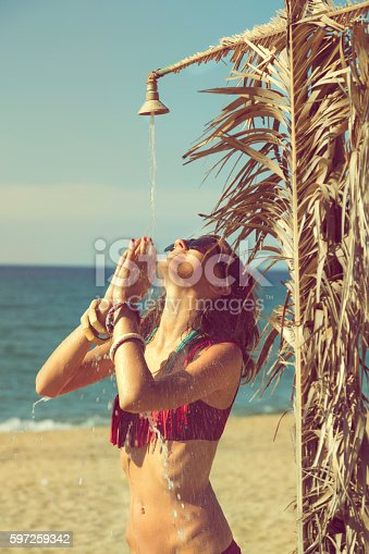 545091450istockphoto Attractive fashionable woman having fun on the beach. 597259342
