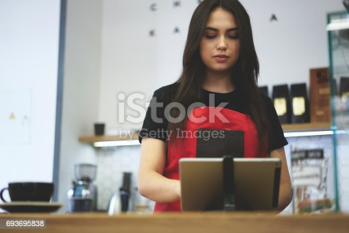 istock Attractive female businesswoman barista owner of bar caffe 693695838