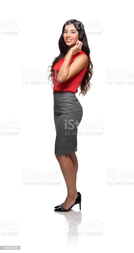 Attractive female customer service representative stock photo