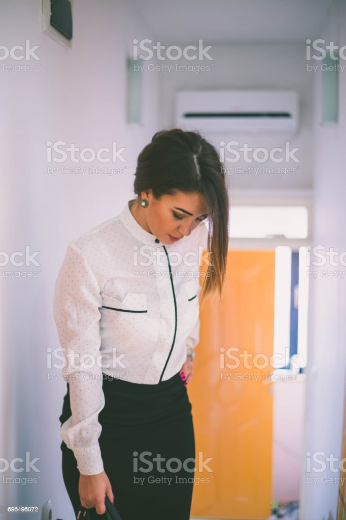 a2348feee Attractive female executive wearing shirt and mini skirt . Beautiful  caucasian female model in business attire