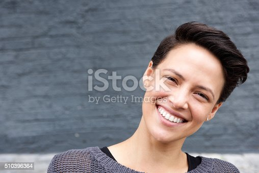 istock Attractive female face with short hair 510396364