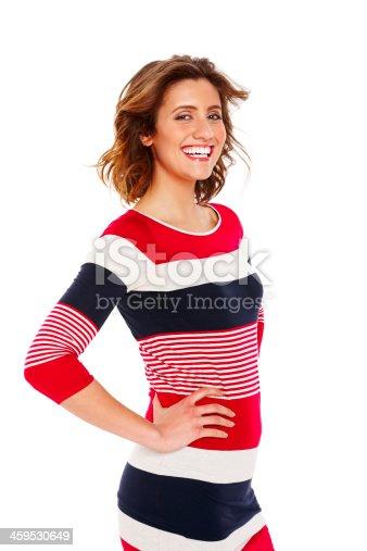 155097509 istock photo Attractive female fashion model posing against white 459530649