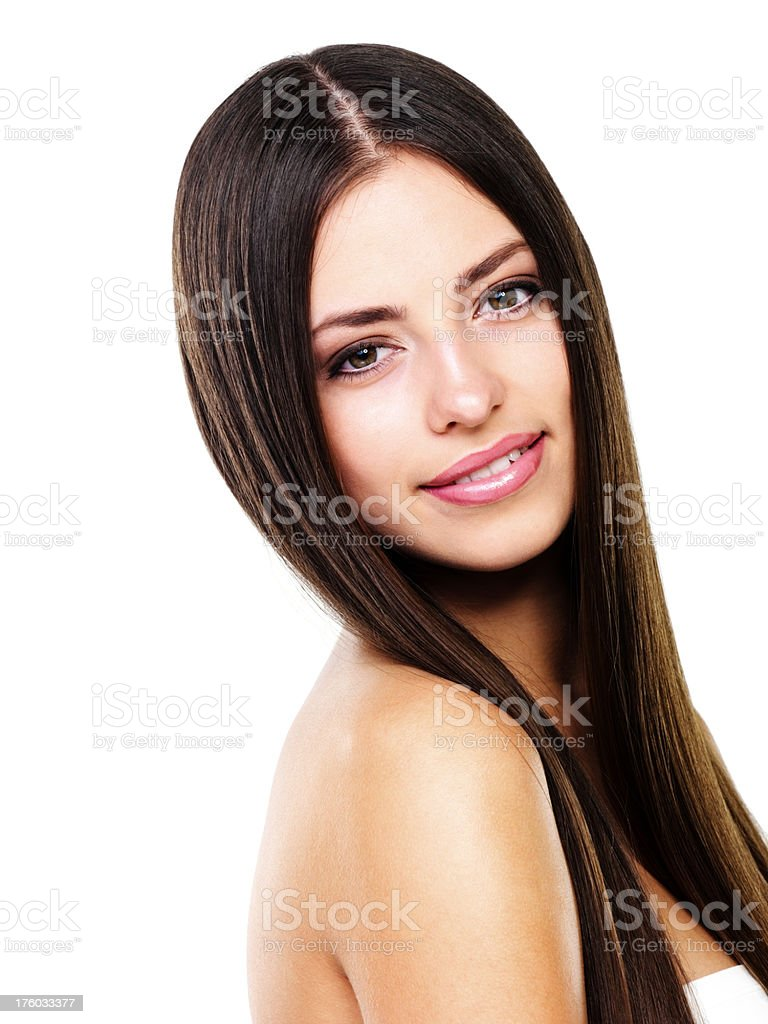 Attractive female giving a smile stock photo