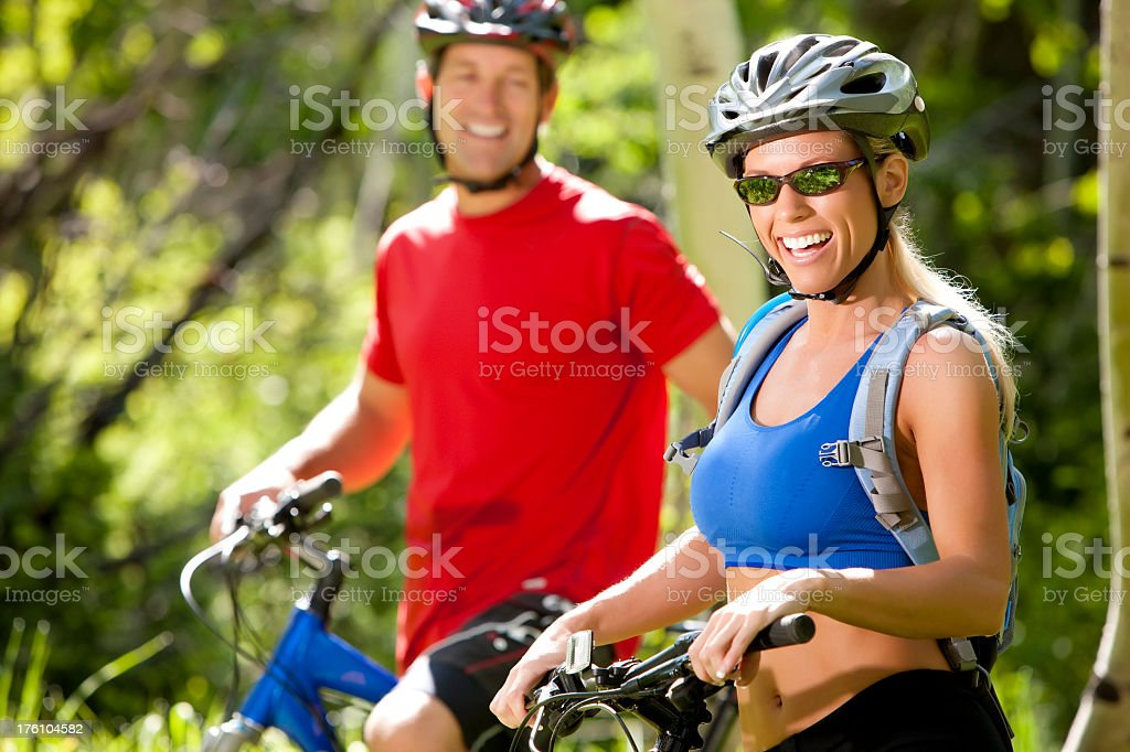 Attractive Female Mountain Biking royalty-free stock photo