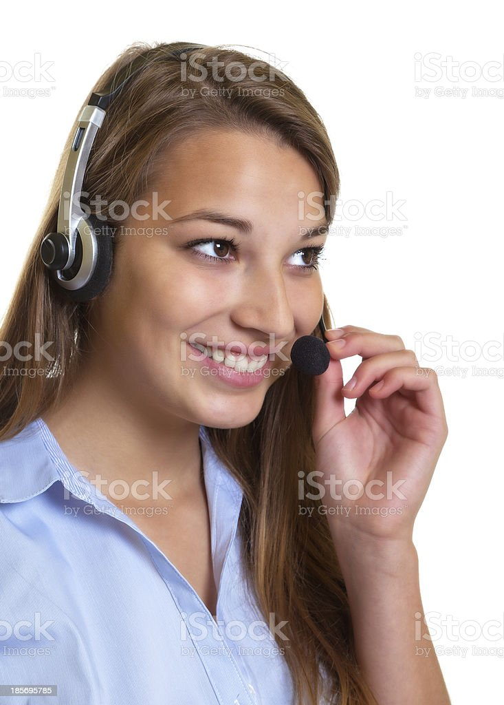 Attractive female operator at work royalty-free stock photo