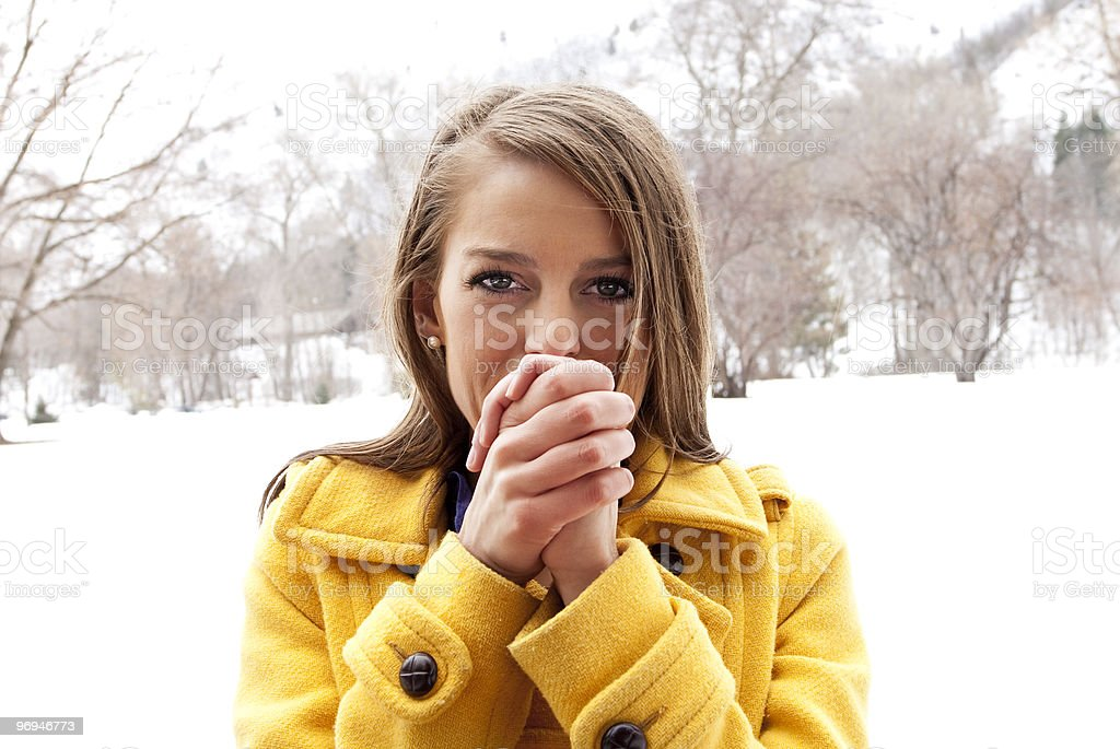 Attractive Female out in winter weather royalty-free stock photo