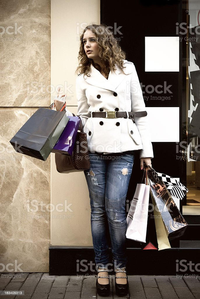 Attractive Female Shopping royalty-free stock photo