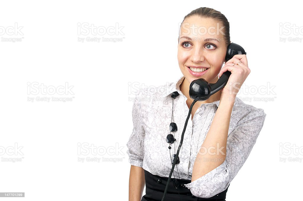 Attractive female talking phone stock photo