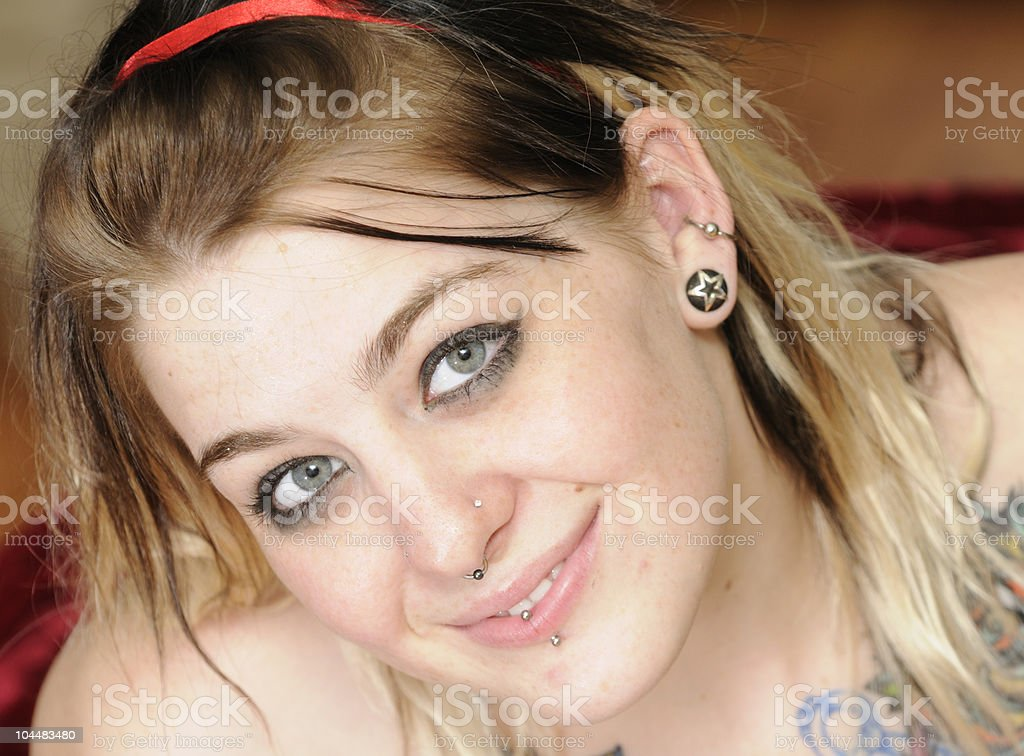 Attractive female with nose ring royalty-free stock photo