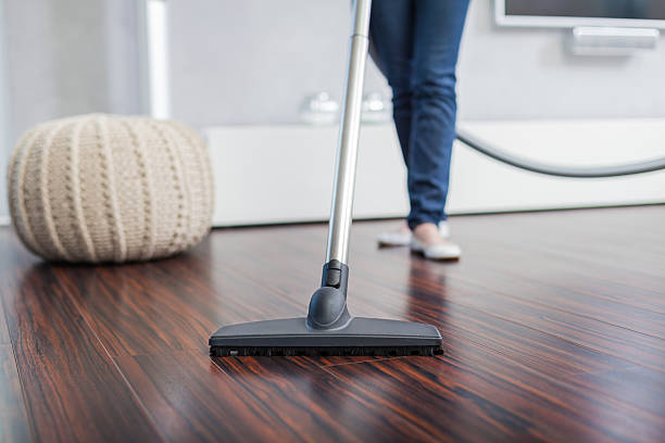 attractive female with vacuum cleaner - stofzuiger stockfoto's en -beelden